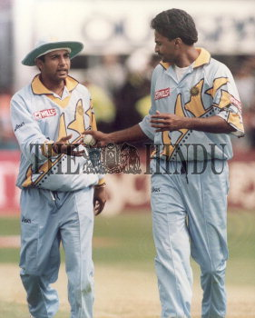 Indian Cricketers Ajay Jadeja And Javagal Srinath Snapped During The Super Six Match Between India The Hindu Images