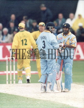 Indian Batsmen Ajay Jadeja And Robin Singh In A Mid Wicket Conference During The Super Six The Hindu Images