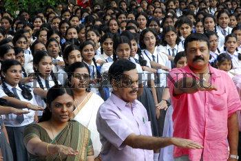 Malayalam film actor Suresh Gopi and IG Sandhya taking a pledge